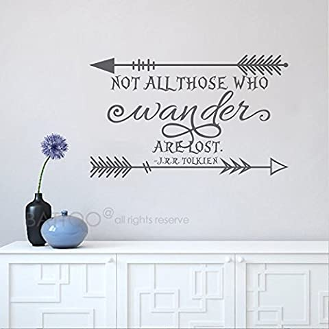BATTOO Not all who Wander are lost wall decal - Arrow Vinyl Wall Decals - Wall Decal Quote - Travel Vinyl Wall Decal - Wander Wall Decal Adventure(dark gray, - Lost Soles Vinyl