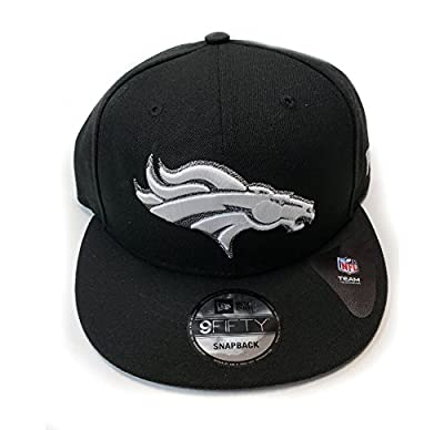 New Era Denver Broncos 9Fifty Black & White Logo Adjustable Snapback Hat NFL from New Era