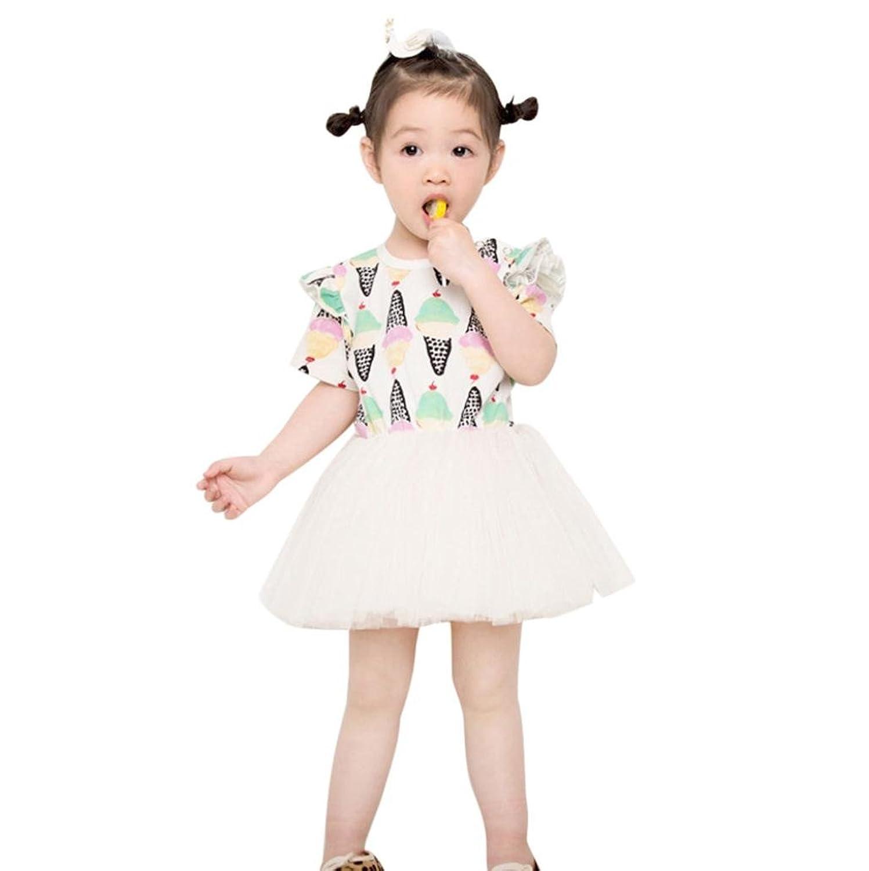 1pc robe pour 18 mois-5 ans fille, Transer Les filles mignonnes de crême glacée ont imprimé la robe occasionnelle de tulle de couche