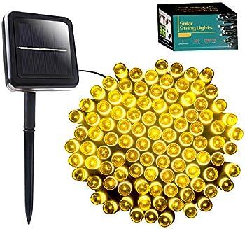 SANJICHA 72ft 200 LED 8 Modes Christmas Fairy Solar String Lights