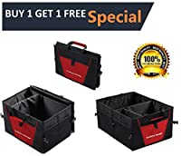 Trunk Organizer- Car Storage Organizer with Non Slip Bottom Strips to Prevent Sliding - Collapsible Multi Compartment Cargo Organizer for Car, Auto, SUV, Truck, Minivan - Foldable for easy storage