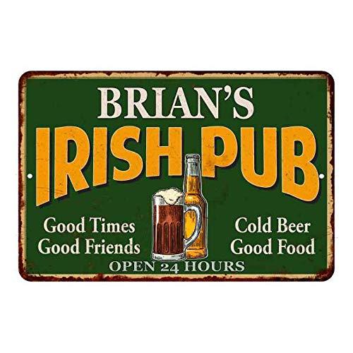Brians Irish Pub - Placa decorativa de metal para cerveza personalizada, 20 x 30 cm