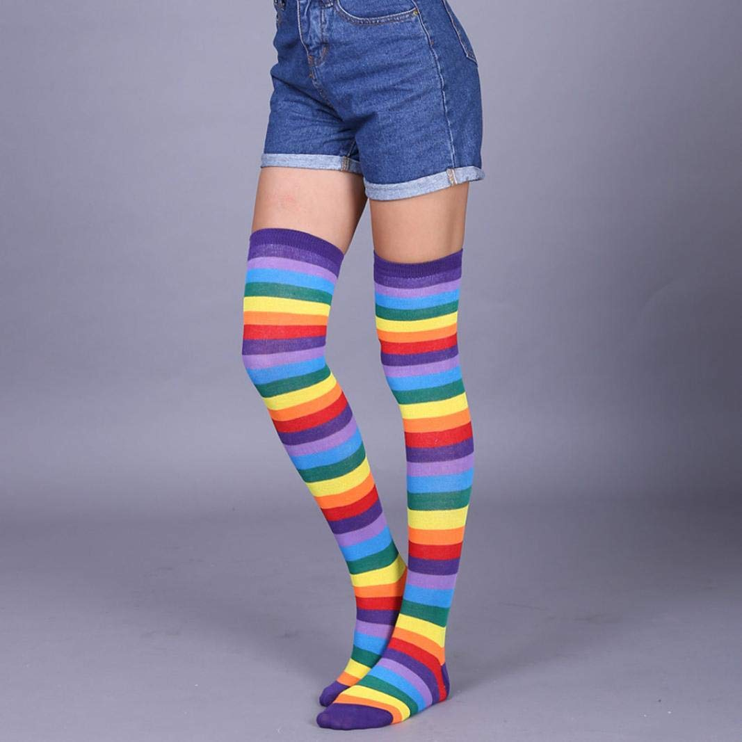 440a0f8f79c Amazon.com  SCSAlgin Blouse Womens Long Striped Socks Over Knee Thigh High  Socks Stocking Stripe Tube Cosplay Socks (A