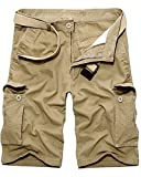 Men's Casual Multi-Pocket Cargo Shorts, Summer Cotton Outdoor Wear Dungarees Khaki Size 38