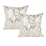fine patio cover design ideas Vinerstar White Sofa Throw Pillow Covers 18 x 18 (45cm x 45cm) Gold Stamping Love Tree Geometric Square Decorative Super Soft Cushion Cover for Sofa Couch Patio Set of 2 (Irregular and Irregular)
