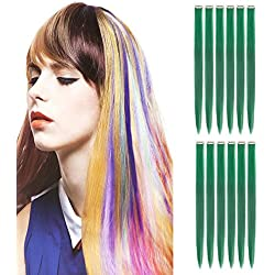 "Creamily 12 Pieces of Green 20"" Inches Multi-colors Party Highlights Clip in Synthetic Hair Extensions"