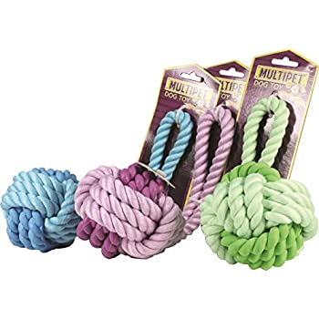 """Multipet Nuts for Knots Rope/Rubber Ball w/ Tug (Assorted Colors) - 3.25"""" Dog Toy"""
