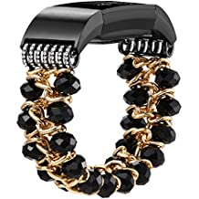 fastgo Compatible for Fitbit Charge 2 Bands, Bling Jewelry Bracelets Elastic Stretchy Replacements Band/Strap Compatible for Fitbit HR2 Bands for Women/Girls Fitness Smart Watch