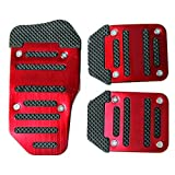 Image of Fochutech 3 Pcs Nonslip Pedal Foot Brake Accelerator Cover Set for Car Auto Vehicle Automatic Aluminium (Red)