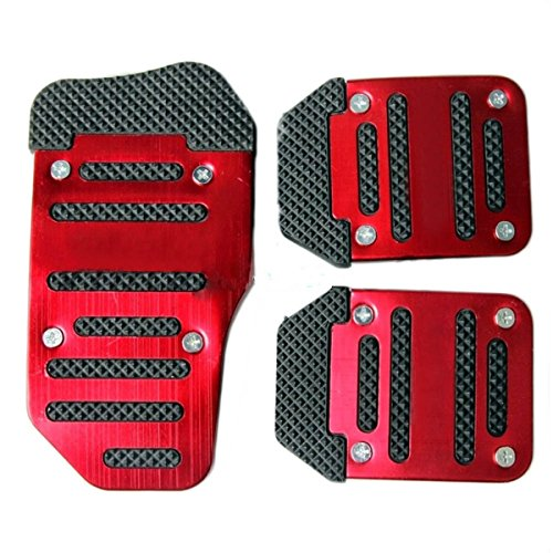 Fochutech 3 Pcs Nonslip Pedal Foot Brake Accelerator Cover Set for Car Auto Vehicle Automatic Aluminium (Red)