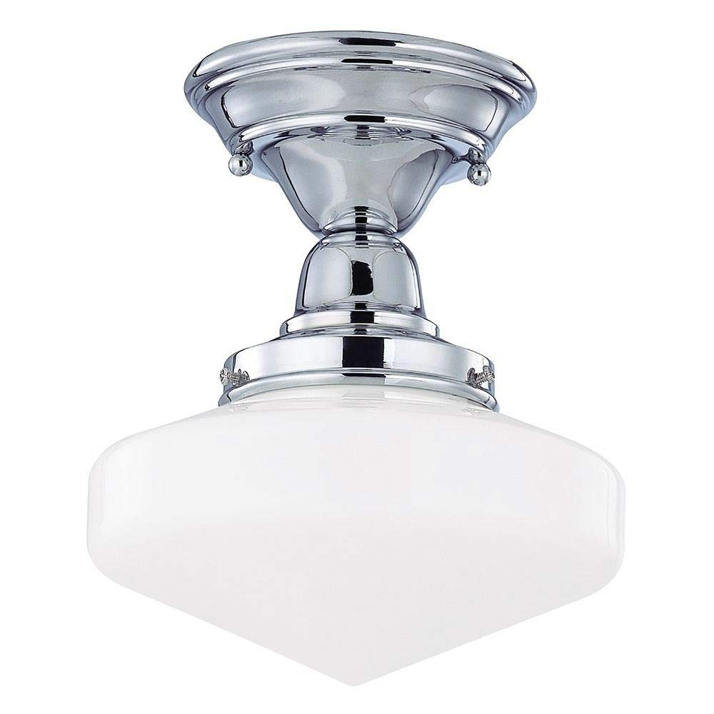 8-Inch Schoolhouse Ceiling Light in Chrome Finish