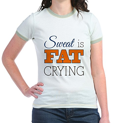 Royal Lion Jr. Ringer T-Shirt Sweat Is Fat Crying Gym Workout - Mint/Avocado, (Fat Ringer T-shirt)