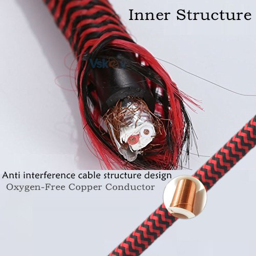 [1m 3ft] Dual Mono Male (1/4 inch) 6.35mm to XLR Male Plug Nylon Braided Shielded Audio Cable [Gold Plated Connector,OFC Copper Conductor]