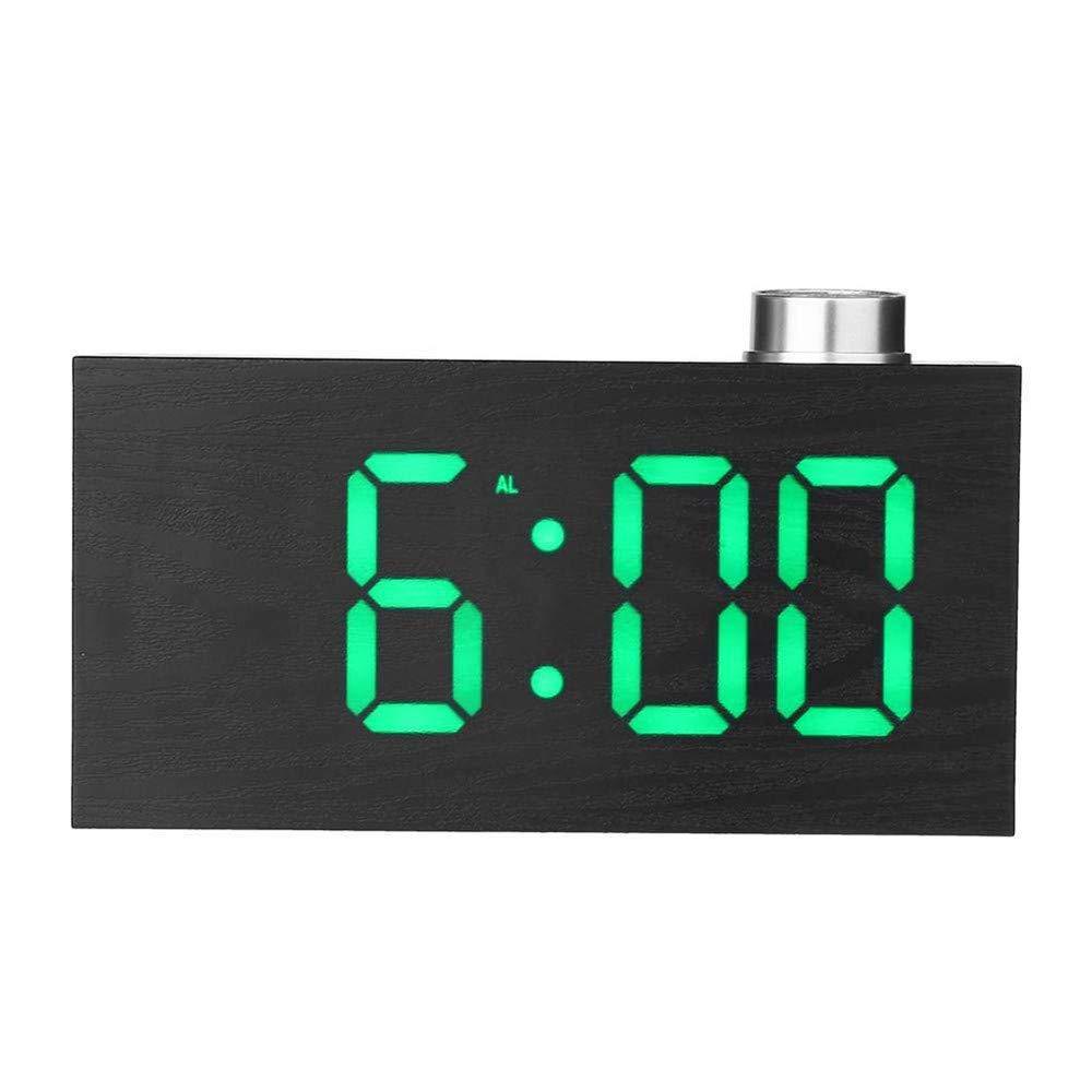 Digital LED Clock, YiMiky Temperature LED Display Wood Grain Alarm Clock 3 Levels Brightness Electronic Alarm Clock Snooze Battery Backup Simple Operation Alarm Clock - Green