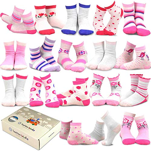 TeeHee Kids Girls Fashion Variety Cotton Crew 18 Pair Pack Gift Box (3-5Y, Vintage) -