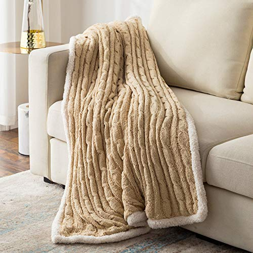 LEWONDER Sherpa Fleece Throw Blanket, Chenille Cable Knitted Thick Blanket, Beige 5060in