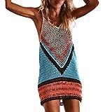 VIASA_ Women Crochet Hollow Blouse Beach Cover up Sarong Bikini Tops Dress Sexy Fishnet Mesh Swimwear (Multicolor, XL)