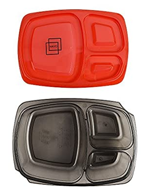 MAVO RAINBOW BOXES Premium BPA Free Meal Prep Containers-Microwave Dishwasher And Freezer Safe Plastic Sturdy And Durable Lunch Containers With Dividers 3 Compartment Bento Lunch Box Set Of 7