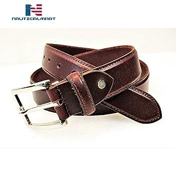 Al-Nurayn Men Stylish Leather Belt Casual Jeans Brown Belt