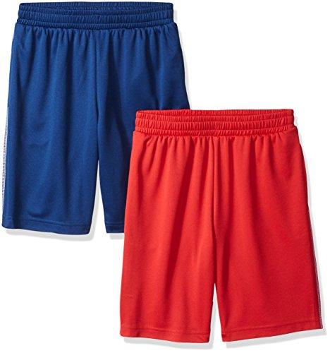 Amazon Essentials Little Boys' 2-Pack Mesh Short, Red/Navy, X-Small]()