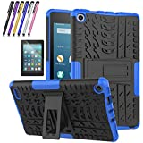 Fire 7 2017 Case, Mignova Hybrid Protection Cover [Anti Slip] [Built-In Kickstand] Skin Case For All-New Fire 7 Tablet (7th Generation 2017 Release) + Screen Protector Film and Stylus Pen (Blue)
