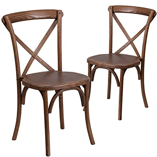 Flash Furniture 2 Pk. HERCULES Series Pecan Cross Back Chair ()