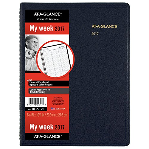 """Cheap AT-A-GLANCE Weekly Appointment Book / Planner 2017, 8-1/4 x 10-7/8"""", Navy (70-950-20) supplier"""