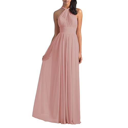 YORFORMALS Womens Halter Pleated Chiffon Bridesmaid Dress Long Backless Formal Evening Gown