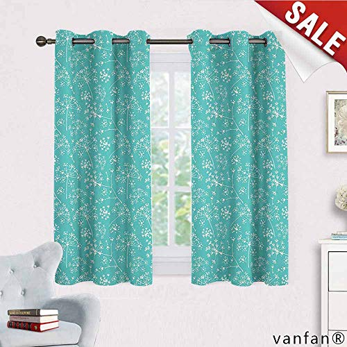 Turquoise Decor Collection curtains for bedroom,Delicate Umbrellas Parsley Dill Blossom Wildflower Summertime Plants Pattern for Bedroom, Nursery, Living Room,Tiffany Blue White W63