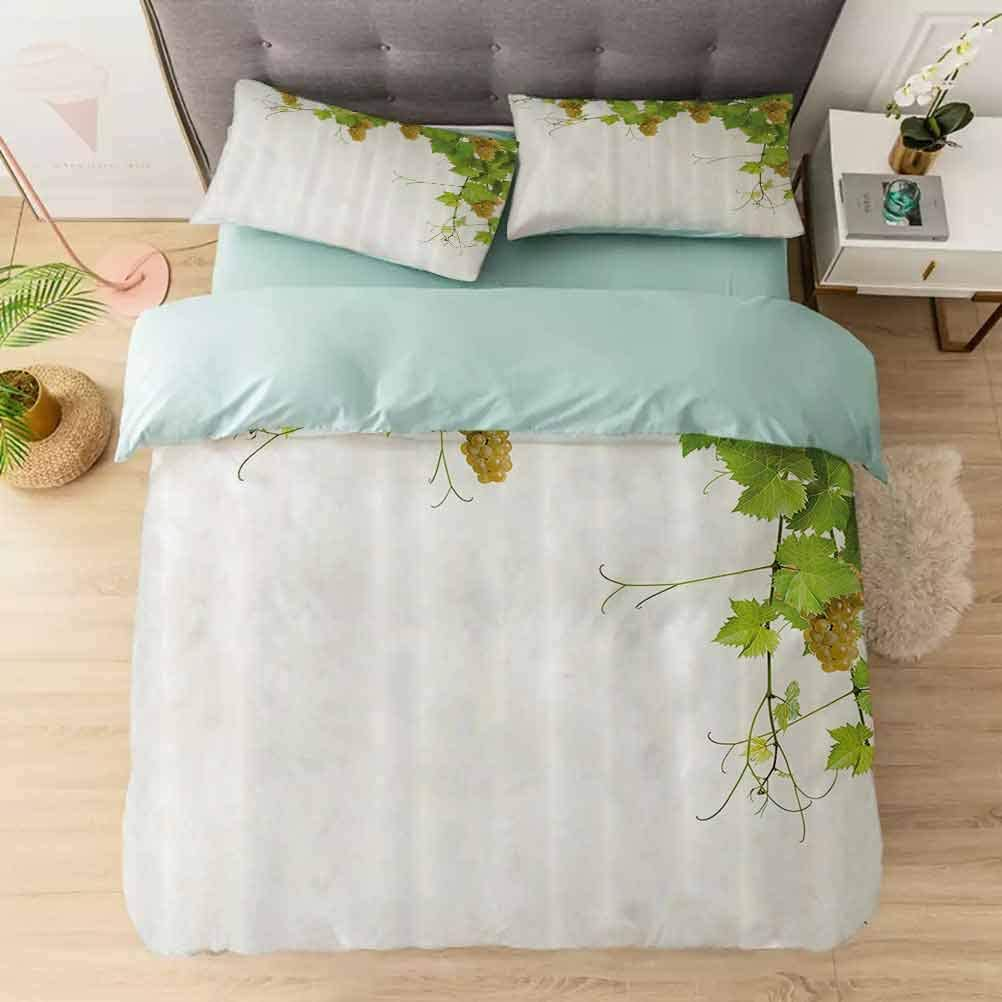 Bedding Duvet Cover Set Full, Collage of Vine Leaves on Bunch Farming Natural Rural Food B, Comforter Cover Set 1 Comforter Cover with 2 Pillow Shams Ultra Soft Hypoallergenic Microfiber