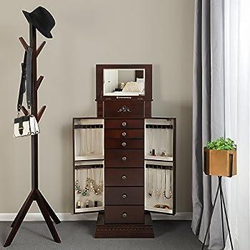 SONGMICS Large Jewelry Armoire Cabinet Standing Storage Chest Neckalce Organizer Dark Walnut UJJC14K