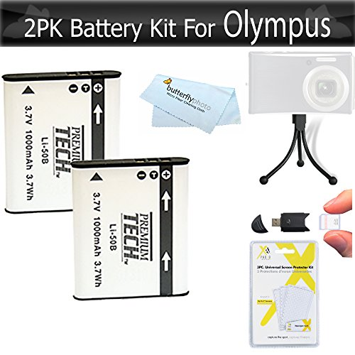 2 Pack Battery Kit For Olympus SZ-12 XZ-1 SZ-10 SZ-20 SZ-30MR SZ-11 SZ-31MR iHS SZ-16 iHS SZ-15 TG-830 Tough TG-850 iHS TG-860, TG-870 Tough Digital Camera Includes 2 Replacement LI-50B Batteries + More