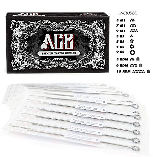 ACE Needles 50 Mixed Assorted Tattoo Needles 10 Sizes - Round Shader 3 5 7 9 11 15 RS RM (Needles Round Tattoo Shader)
