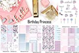 Birthday Princess, sticker kit. Planner stickers weekly kit. Choose from sizes Erin Condren or Happy Planner. 6 sheets at 5x7 kiss cut on matte sticker paper.
