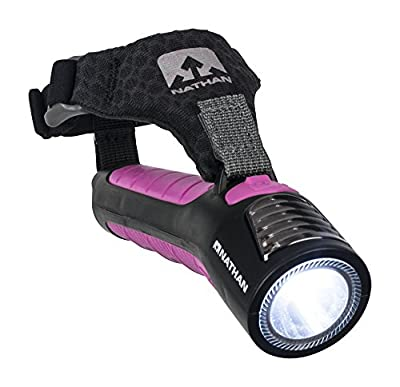 Nathan Running Flashlight. Hand Held Torch Zephyr Fire 100 with Siren. LED Light for Runners, Walkers, Cyclist, Kids, Security. Handheld Dual Front and Back Light to See and Be-Seen. Rechargeable Battery.