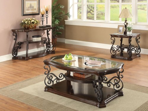 Coaster Home Furnishings End Table with Tempered Glass Top Deep Merlot ()
