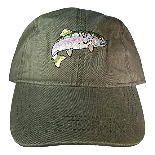 ECO Wear Embroidered Wildlife Rainbow Trout Baseball Cap (Fish Men Hats)