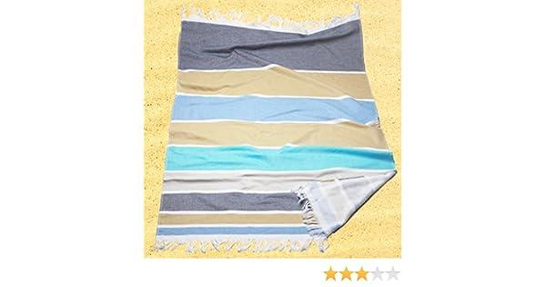Burrito Blanco Pareo para playa/Toalla pareo 179 Algodón 90% Poliéster 10% con Reverso de Rizo 90x165 cm con Flecos Estampado de Rayas, Azul Gris y Beige: ...