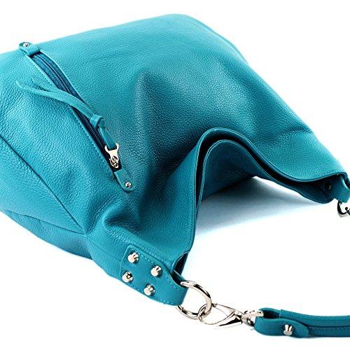 modamoda de - ital. Ledertasche Shopper Damentasche Schultertasche Leder Nappaleder T121 Türkis Leder fyxb4y9Cv