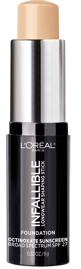 L'Oreal Paris Makeup Infallible Longwear Foundation Shaping Stick, Up to 24hr Wear, Medium to Full Coverage Cream Foundation Stick, 402 Nude Beige, 0.32 Ounce