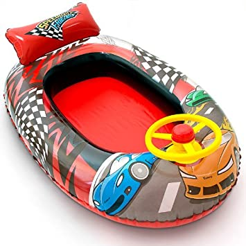 Barca hinchable de piscina coche de carreras 102x69cm: Amazon.es ...