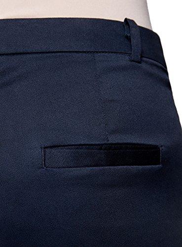 oodji Collection Mujer Pantalones de Algodón Estrechos Azul (7900N)