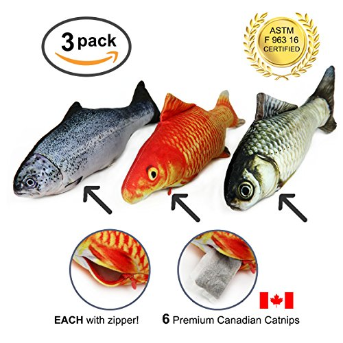 DrPawPrints 14 Fish 3 Large Refillable Realistic Toy for Pet Cats Or Kittens – Big Plush Shaped Pillow Stuffed with Real Catnip –