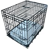 Ellie-Bo Deluxe Extra Strong 2 Door Folding Dog Puppy Cage with Faux Sheepskin Bed Large 36 inch Black