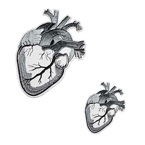 Punk Heart - U-Sky Sew or Iron on Patches - Human Anatomical Heart Patch for Jeans, Punk Jackets, 2 Different Size Pack