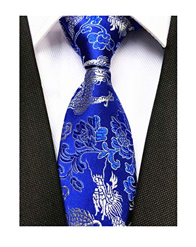 Slim Blue Silver Silk Tie Celebrations Graduations Novelty Necktie for Men boys ()