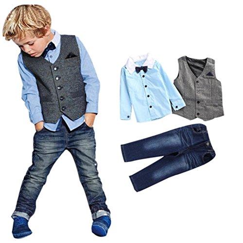 Sunward Newborn Baby Boy 3 Piece Handsome T-shirt+Vest+Denim Trousers Pants Clothes Outfits (5T, Blue)