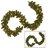 National tree 9ft North Valley Spruce Garland + 50 LED Lights