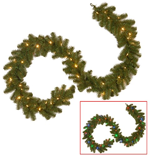 National tree 9ft North Valley Spruce Garland + 50 LED Lights (Large Image)