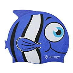 Funny life moments in the water are always better with Vetoky. Featuring novelty&Cute penguin, Shark, Clownfish designs, these kids swim caps are great for recreational Kids swimmers. Ideal Kids Swimcap for Pool & Bathing.   FEATURES: Cute ca...